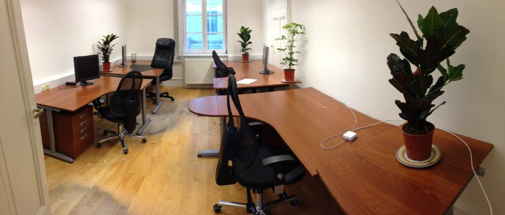 shared office space with co-working desks. One of the rooms you can see at our co-working open house.